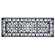 Tapis d'extérieur longueur 120 cm en caoutchouc esprit fer forgé.Ce grand format de 120cm est très pratique pour une large porte d'entrée.A utiliser aussi comme tapis de marche d'escalier.