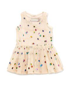 Stella McCartney Sleeveless Polka Dot Tulle Dress, Pink, Size 6-24 Months