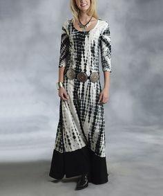 Look what I found on #zulily! Black & White Tie-Dye Scoop Neck Maxi Dress - Women by Roper #zulilyfinds