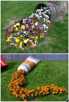 DIY Spilled Flower Pot-20 Colorful Garden Art DIY Decorating Ideas Instructions