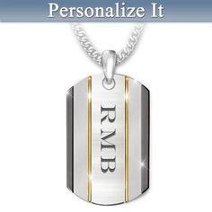 Solid stainless steel pendant for son with his etched initials, black and…