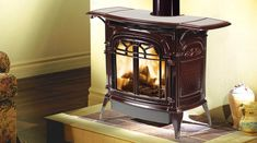 Vermont Castings Stardance Direct Vent gas stove in classic black, ebony black, cream, and bordeaux Fireplace Vent, Direct Vent Fireplace, Fireplace Inserts, Fireplace Ideas, Fireplaces, Vermont Castings Wood Stove, Direct Vent Gas Stove, Wood Burning Insert, Propane Stove