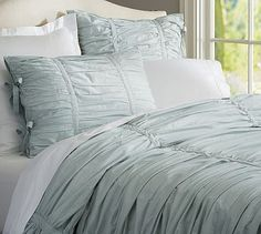 Dress your bed with blue bedding from Pottery Barn. Find baby blue, navy and sapphire duvets, sheets and pillowcases and add cozy comfort to your bedroom. Belle Lingerie, White Duvet Covers, Duvet Cover Sets, Bed Covers, Pillow Covers, Pottery Barn Duvet, Aqua Bedding, Bedding Sets, Master Bedroom