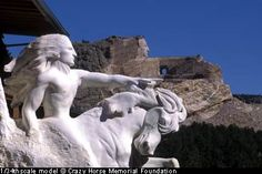 """Crazy Horse Memorial, Black Hills, South Dakota  """"My fellow chiefs and I would like the white man to know the red man has great heroes, too.""""     These are the words Chief Henry Standing Bear wrote to sculptor Korczak Ziolkowski in 1939 urging him to come back to the Black Hills and carve a mountain sculpture honoring American Indians."""