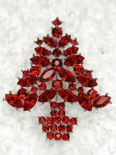 GORGEOUS RED RHINESTONE CRYSTAL CHRISTMAS TREE PIN BROOCH C802 | eBay