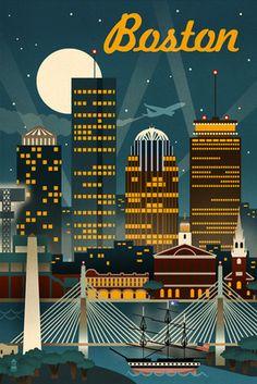 Boston, Massachusetts - Retro Skyline - Lantern Press Poster
