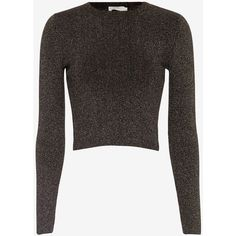 A.L.C. Rene Lurex Sweater ($295) ❤ liked on Polyvore featuring tops, sweaters, black, metallic sweater, long sleeve crop top, black sparkle sweater, black top and crop top
