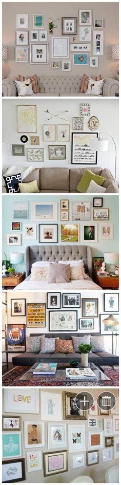 Making an art gallery-style wall in your home is one of the hardest things of all -- we know, we tried and didn't do well until we got some tips from designers! Here are seven very specific ideas that you can use when planning yours so it comes out looking great. #gallerywall