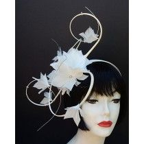 Off-White Feather Swirl Fascinator...LIKE A PARTY ON YOUR HEAD!  by HAT-A-TUDE