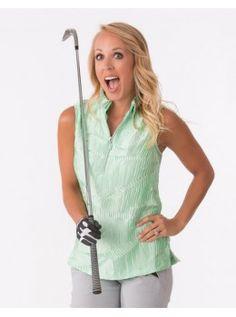 Jamie Sadock Emerald Women's Sleeveless Crinkle Shiny Detailed Polo Golf Shirt-Mint Julep