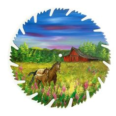 Hand Painted Saw Blade Art Summer Horse and Colt Red Barn NEW!! OOAK