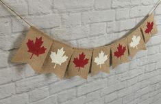 Easter Burlap Banner, Easter Garland, Canada Celebrations, Canada Day Crafts, Canada Day Party, Fathers Day Banner, Pennant Banners, Burlap Banners, Christmas Light Displays