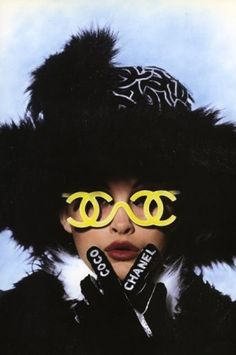Beyond Insane Vintage Chanel  (Source: lolablanc)  #vintage  #chanel  #cocochanel  #glasses  #yellow  #flamboyant