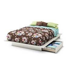 South Shore Beckie Full/Queen Platform Bed with Storage - Pure White