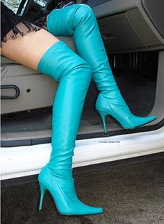 Turquoise over the knee high heel boots!!!