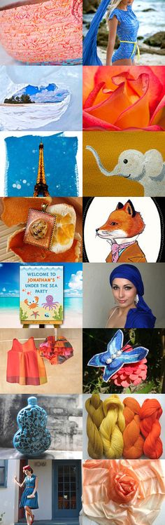 Summer Palette by Anna Margaritou on Etsy--#etsy #treasury #peach #coral #blue #salmon #basket #cat #bed #orange #fox #elephant #Paris Pinned with TreasuryPin.com
