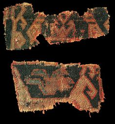 Rug fragments with offset symmetrical knotting, 15th century, Ottoman Turkey or Caucasus. The Röhss Museum of Arts and Crafts, Gothenburg