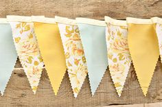 Mellow Yellow - Vintage Bunting Banner - Free Shipping US and Canada via Etsy
