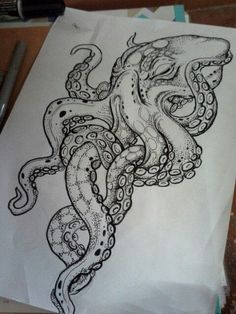 Best tattoo ideas for men and women with meaning - best squid tattoo . - Best tattoo ideas for men and women with meaning – best squid tattoo idea designs – - Octopus Sketch, Octopus Drawing, Octopus Tattoo Design, Tattoo Designs, Octopus Tattoos, Octopus Art, Octopus Illustration, Kraken Tattoo, Squid Tattoo