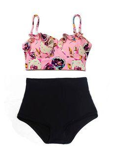 Rose Pastel Rose dessus et noire cintrée taille haute Short…  #bikini #2017