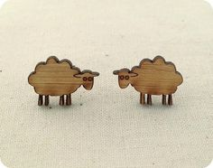 Sheep earrings  wooden eco friendly cute animal by onehappyleaf