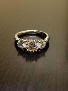 Platinum Three Stone Diamond Wedding Ring - Diamond Platinum Engagement Ring by DeKaraDesigns on Etsy https://www.etsy.com/listing/214138571/platinum-three-stone-diamond-wedding