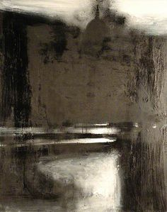 This painting by John Virtue draws me in and then invites me to imprint my own brain's images in, on, and around its lovely, beckoning spaces. (G. Lynne)