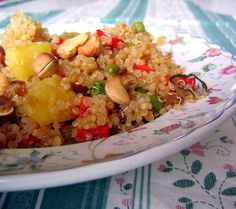 Pineapple Cashew Quinoa Stir-Fry: Stir-fries are the perfect meal to throw in a little fruit. This quinoa, cashew, and veggie stir-fry is made with diced pineapple. We've also got a recipe for quinoa salad with apricots and tofu.  Source: Flickr User rusvaplauke