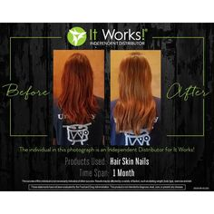 I have 1️⃣ spot for a 90 day challenge with our amazing Hair Skin and Nails! Only $33/month for 3️⃣ months! Whose up for the challenge?! #hsn #itworks #challenge #mermaidhair #results #beforeandafter