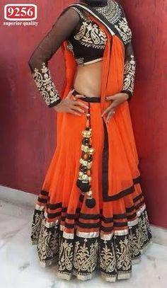 Orange Bollywood Lehenga Choli Online ,Indian Dresses - 1