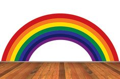 Rainbow Wall Decal Traditional Colors Removable Reusable Repositionable WallSkin.  Never Vinyl. Always Fabulous.