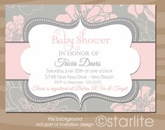 Baby Dreams - Pink and Gray Grey - Baby Shower Invitation - Baby Girl - PRINTABLE Invitation Design. $15.00, via Etsy. baby-shower-ideas