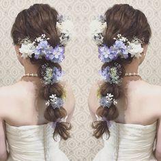 リボンを結んだ可愛い花嫁ヘアまとめ | marry[マリー] Wedding Hair Flowers, Flowers In Hair, Flower Hair, Vanilla, Bridal, Hair Styles, Instagram Posts, Hair Plait Styles, Hairdos