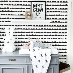 Open nappy wallet on a change table with geometric + stylish nursery furniture. Maybe take away change table and have wallet on a chest of drawers with other baby items. Cool lamp etc. Monochrome Nursery, White Nursery, Big Girl Rooms, Boy Room, Kid Rooms, Baby Bedroom, Kids Bedroom, Color Style, Beautiful Posters
