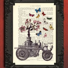 Steampunk steam engine floral blossom french dictionary page upcycled book dictionary print wall art