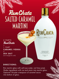 A cocktail recipe from RumChata for the Salted Caramel Martini, made with RumChata, caramel vodka, and sea salt. A must have for a tropical party! Rumchata Drinks, Rumchata Recipes, Liquor Drinks, Cocktail Drinks, Cocktail Recipes, Fireball Recipes, Beverages, Rumchata Pudding Shots, Jars