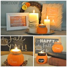 "Make this easy pumpkin jar candleholder and place-marker for just $1 as part of a series about ""how to decorate for fall on a budget"" with TheDomesticHeart.com"