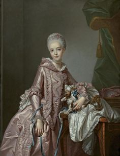 Portrait of a Girl Holding a Spaniel by Alexander Roslin Probably mid-18th century