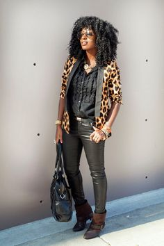 leopard jacket with leather skinnies