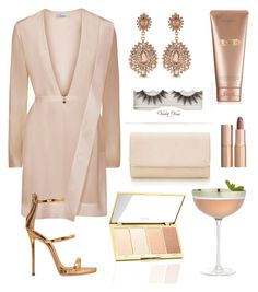 """""""Champagne Cocktails"""" by natalie-moloney ❤ liked on Polyvore featuring Giuseppe Zanotti, Carolee, Charlotte Tilbury, La Mer, Crate and Barrel and Violet Voss"""
