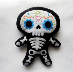 hello, i want you. adorable sugar skull plushie.