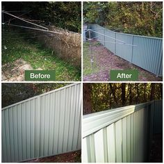 Old brush fence replaced with River Gum Green Colorbond fence in Sydney #sydney #colorbondfence #green www.buildingworksaust.com.au #sydneylocal #sydneybuilder #homerenovation @buildingworksau #newsbuildingworksaust