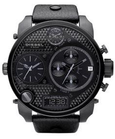 Diesel Watch, Chronograph Black Leather Strap 65x75mm DZ7193
