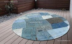 Round shaped Recycled jeans carpet for children room