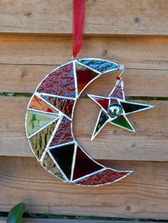 Stained Glass Moon with Star  Green  Red  by DesertGirlGlass, $25.00