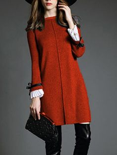 Buy Round Neck Knitted Bowknot Bell Sleeve Shift Dress online with cheap prices and discover fashion Shift Dresses at Fashionmia.com.