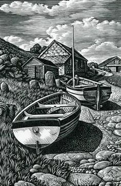 "Howard Phipps ""Beached Boats, Penberth"" wood engraving"