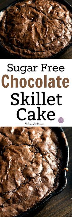 YUM!! Sugar Free Chocolate Skillet Cake #lowcarb #sugarfree #cake #chocolate #skillet #baked