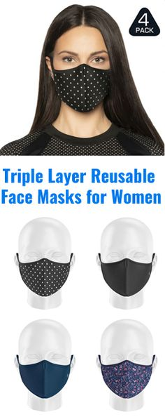 Triple layer face masks for safer social distancing made with organic cotton Comfort fit, Breathable, Washable Face Masks, Organic Cotton, Layers, Fitness, Shopping, Women, Layering, Women's, Facial Masks