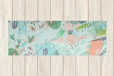 Printed Yoga Mat - Green Abstract Garden Party, Yoga Mat with Design, Custom Yoga Mat, Bright Yoga Mat, Unique Yoga Gifts, Yoga Mat Print